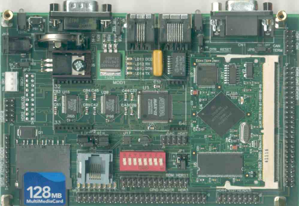 SoM-100ES shown with SoM-5282EM and MMC Card Installed (SoM-5282EM and MMC/SD Card Not Included)